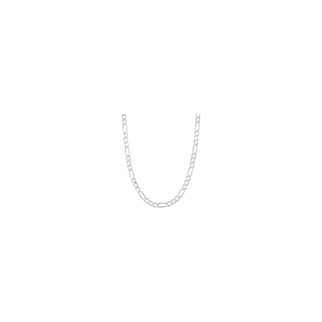 "4MM 100 Rhodium Finished Figaro .925 Sterling Silver Chain Length 7""-28"""