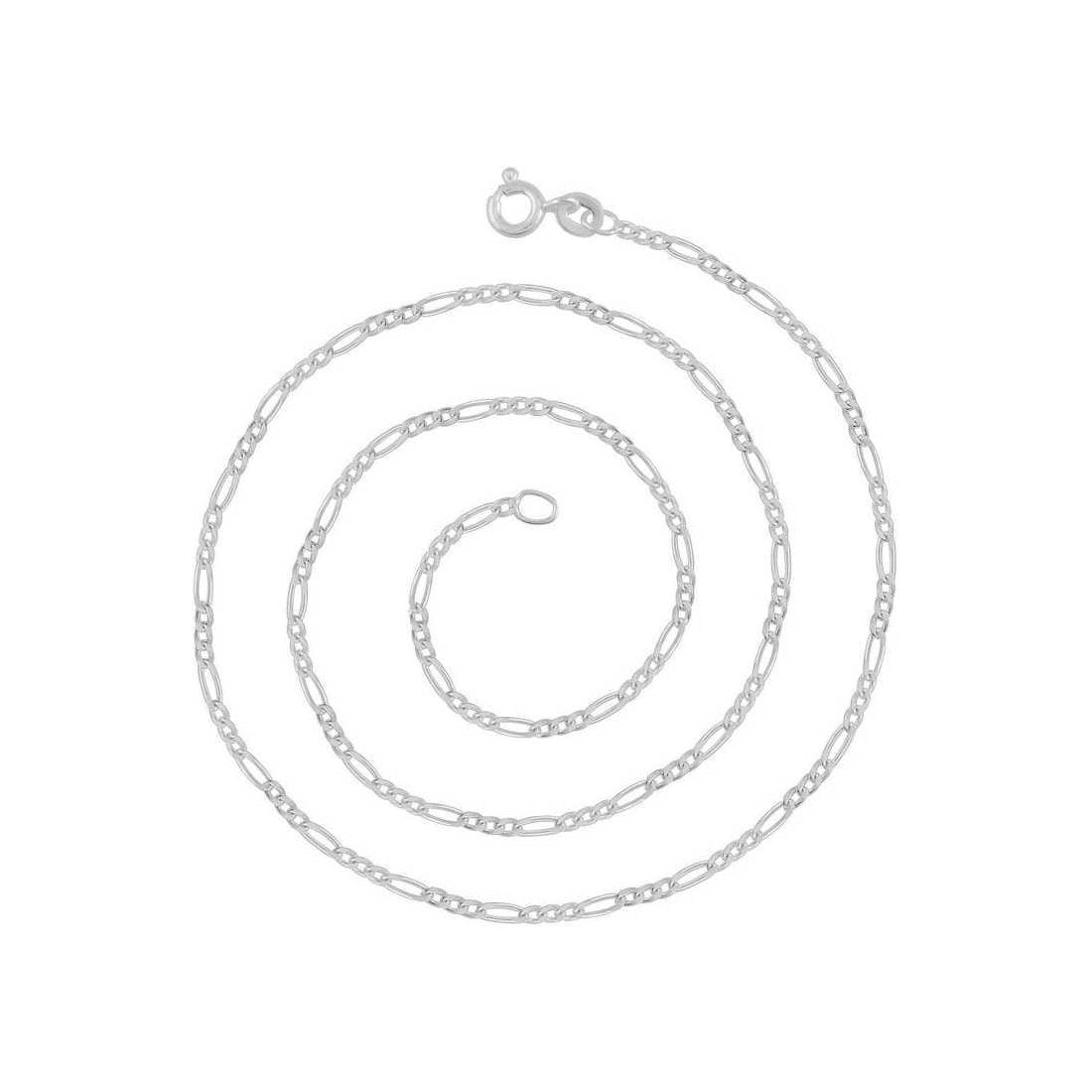 "6.2MM 150 Rhodium Finished Figaro .925 Sterling Silver Chain Lengths ""8-28"""