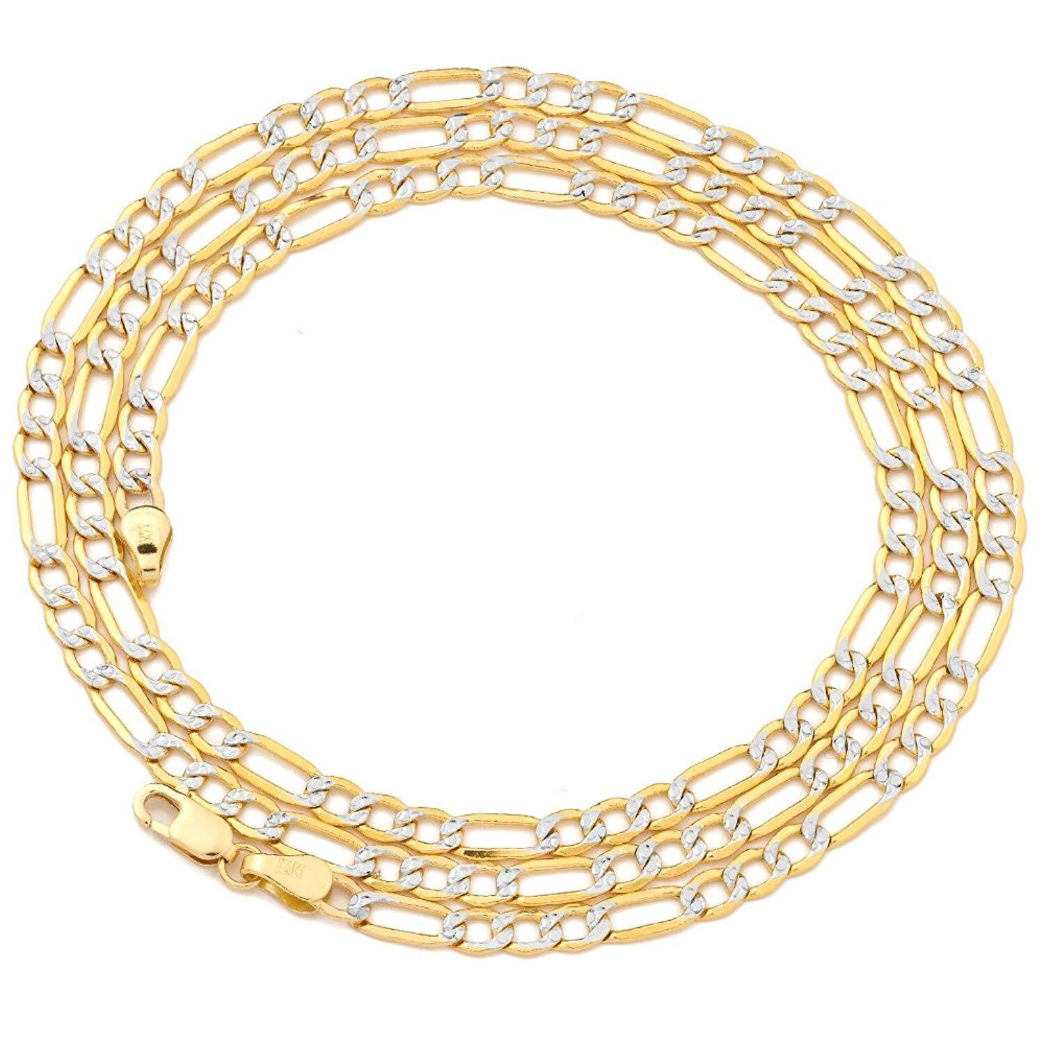 "7.2MM Pave Figaro Yellow Gold Chain .925 Sterling Silver Length ""8-32"" Inches"