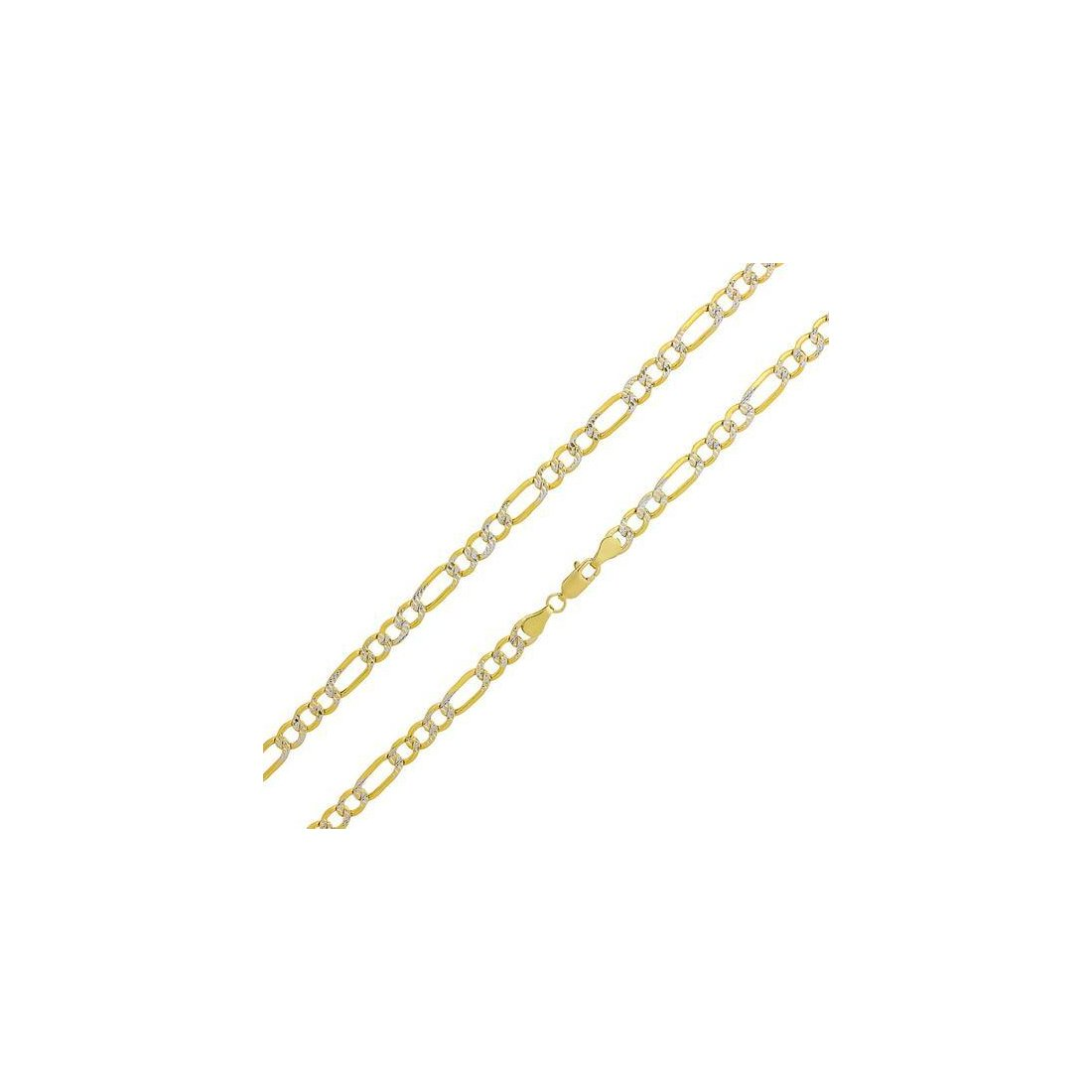 "6.2MM Pave Figaro Yellow Gold Chain .925 Sterling Silver Length ""8-28"" Inches"