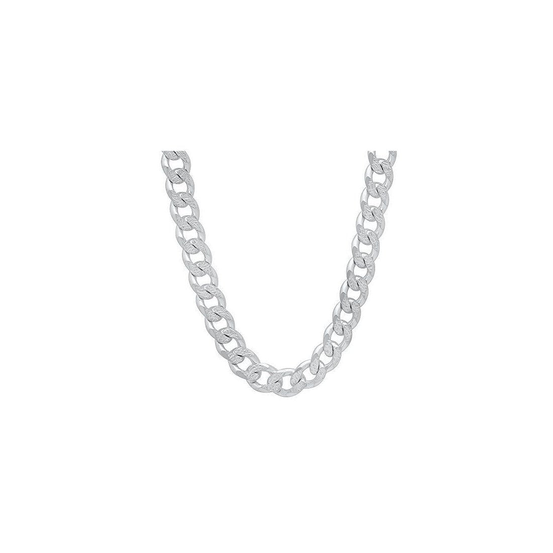 "11MM 250 Flat Curb Chain .925 Solid Sterling Silver Sizes ""8-32"""