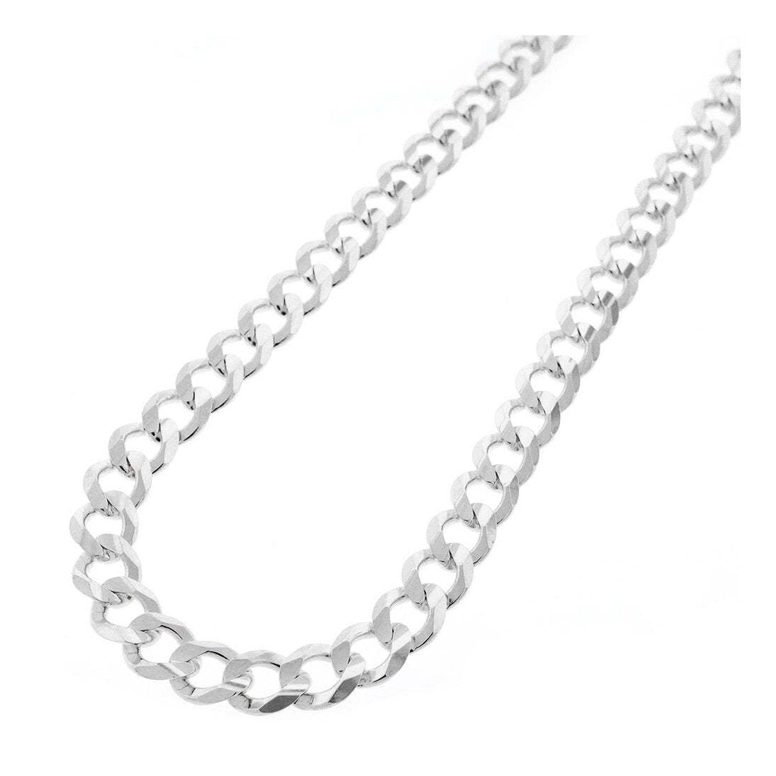 "7.5MM 180 Flat Pave Curb Chain .925 Solid Sterling Silver Sizes ""8-30"" Inches"