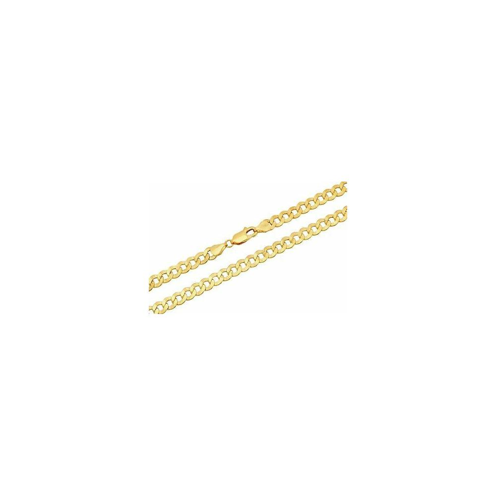 14MM Yellow Gold Flat Curb Chain .925 Solid Sterling Silver Sizes 8-30""