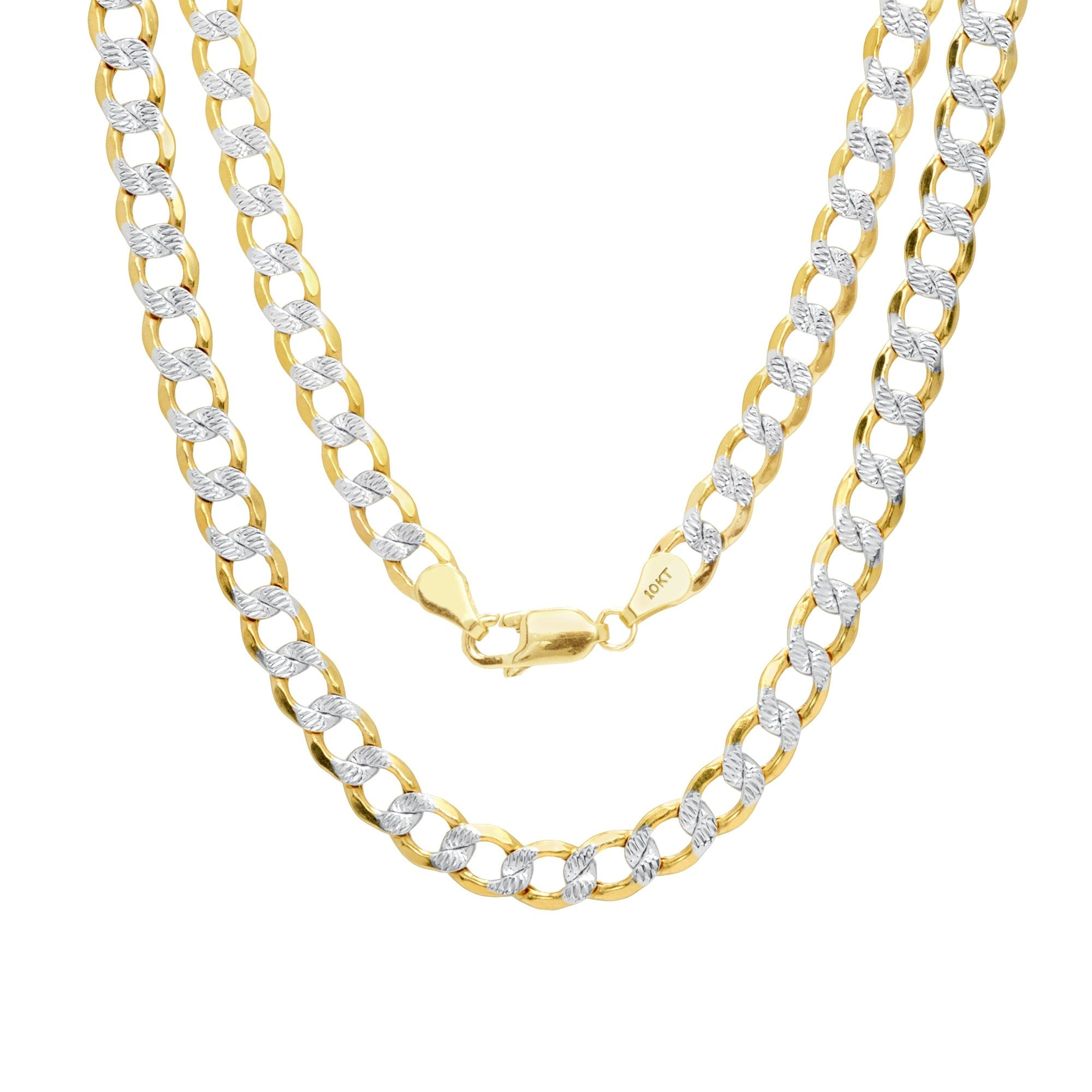 "7.5MM Yellow Gold Flat Pave Curb Chain .925 Solid Sterling Silver 8""- 32"" Inches"