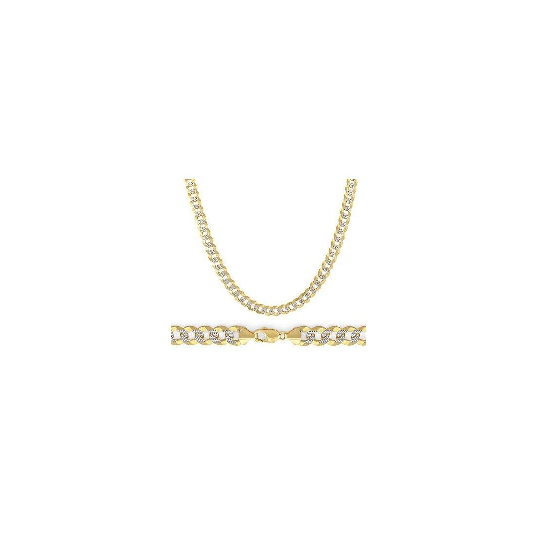 "11MM Yellow Gold Flat Pave Curb Chain .925 Solid Sterling Silver 8""- 32"""