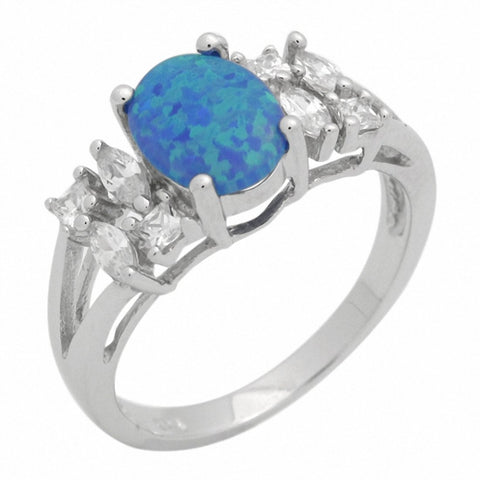 Oval Engagement Ring Princess Lab Created Blue Opal 925 Sterling Silver