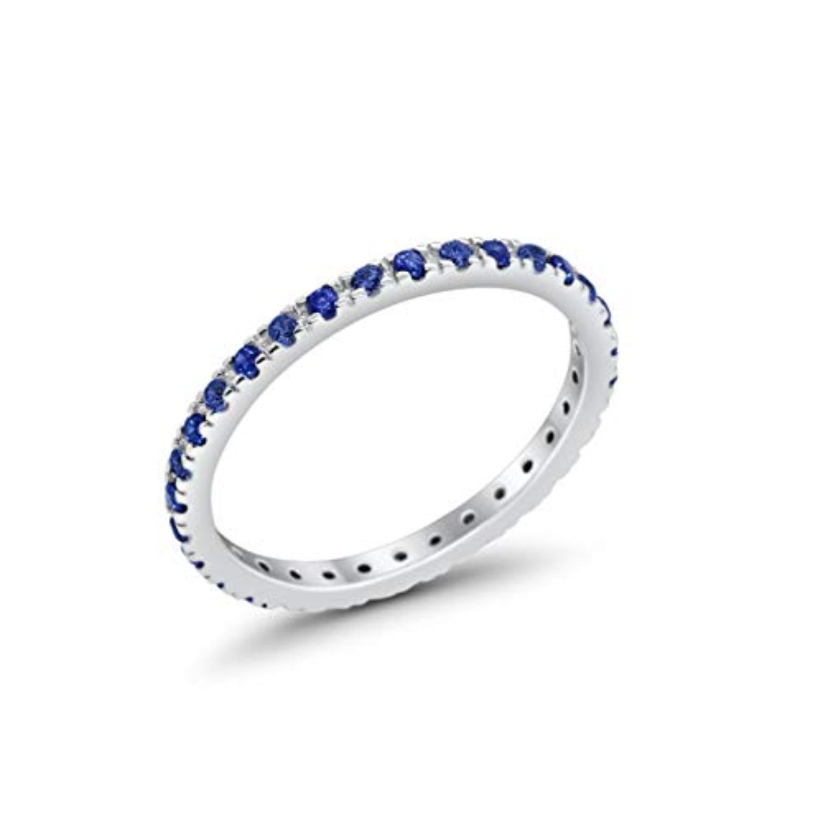 Full Eternity Stackable Band Round Simulated Blue Sapphire CZ Ring 925 Sterling Silver