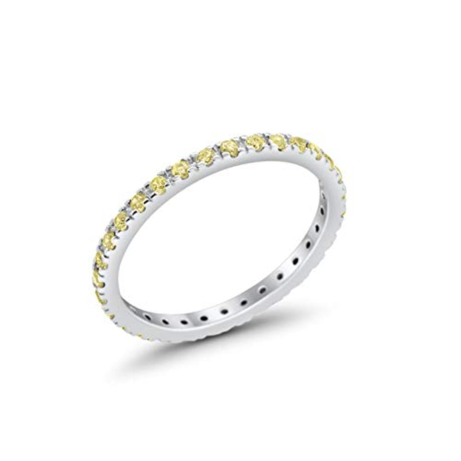 Full Eternity Stackable Band Round Simulated Yellow CZ Ring 925 Sterling Silver