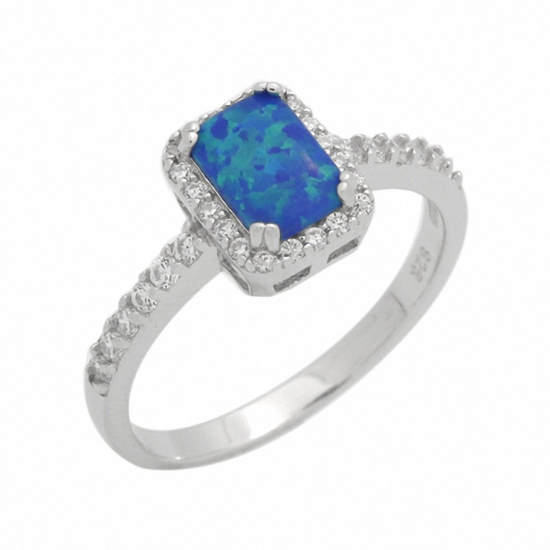 Halo Engagement Ring Radiant Lab Created Blue Opal 925 Sterling Silver