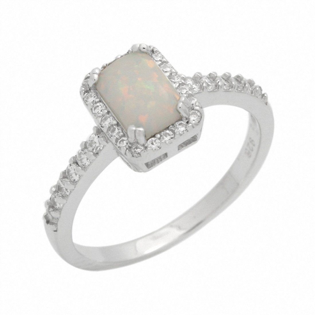 Halo Engagement Ring Radiant Lab Created White Opal 925 Sterling Silver
