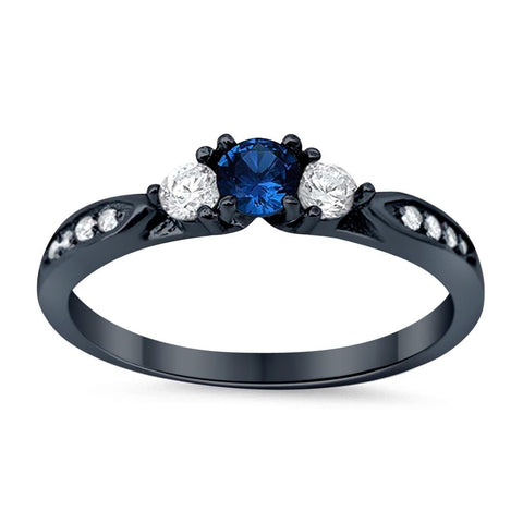 3-Stone Wedding Engagement Ring Simulated Blue Sapphire Round CZ Black Tone 925 Sterling Silver