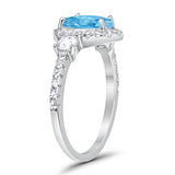 3-Stone Teardrop Ring Pear Simulated Aquamarine CZ 925 Sterling Silver
