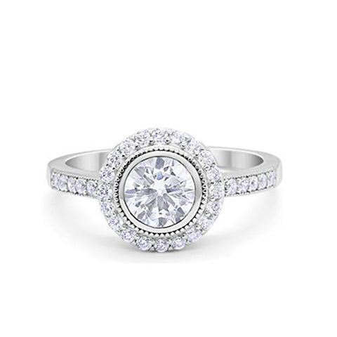 Art Deco Wedding Engagement Ring Round Bezel Simulated Cubic Zirconia 925 Sterling Silver