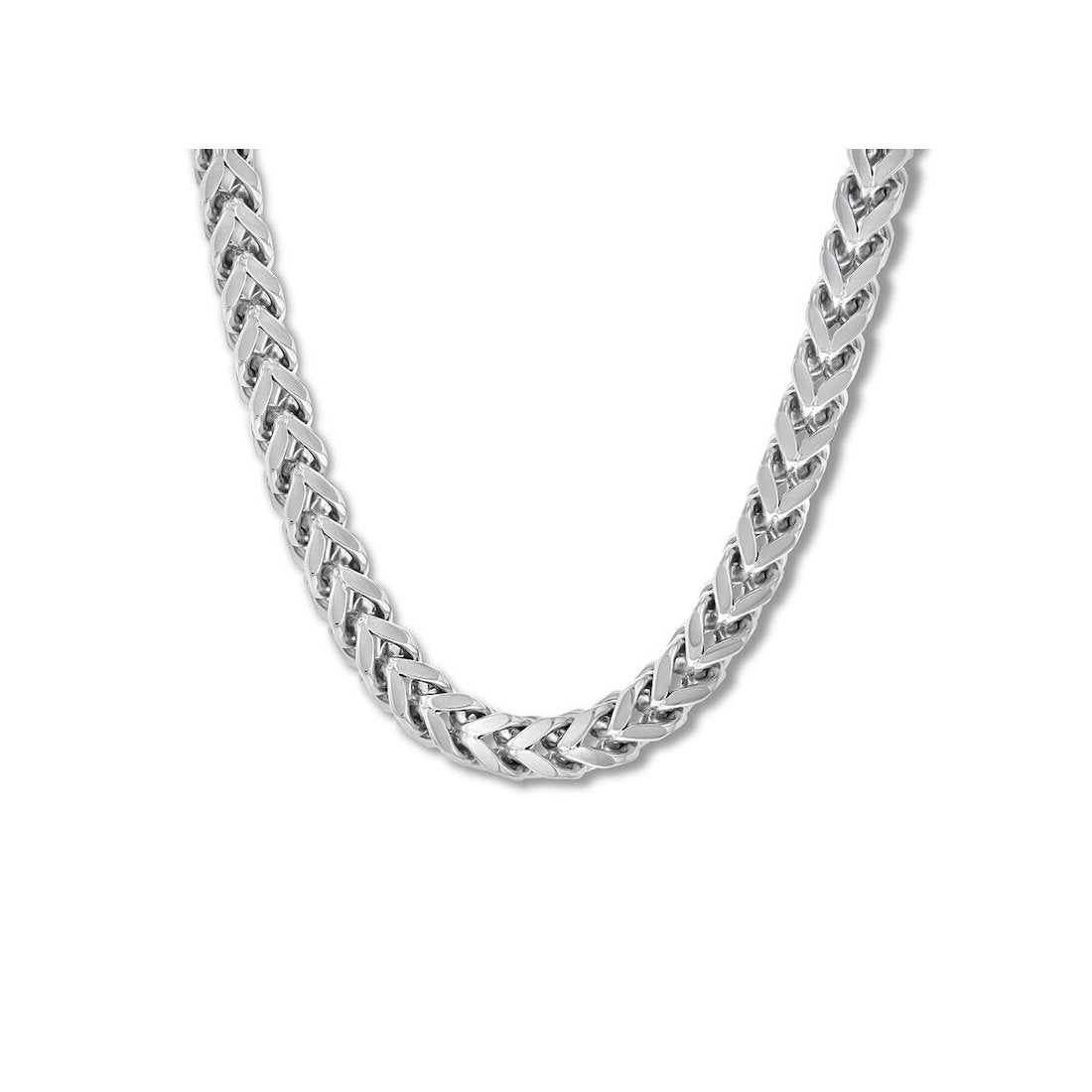 "2.4MM 080 Rhodium Plated Oval Franco .925 Sterling Silver Chain Length ""8-26"""