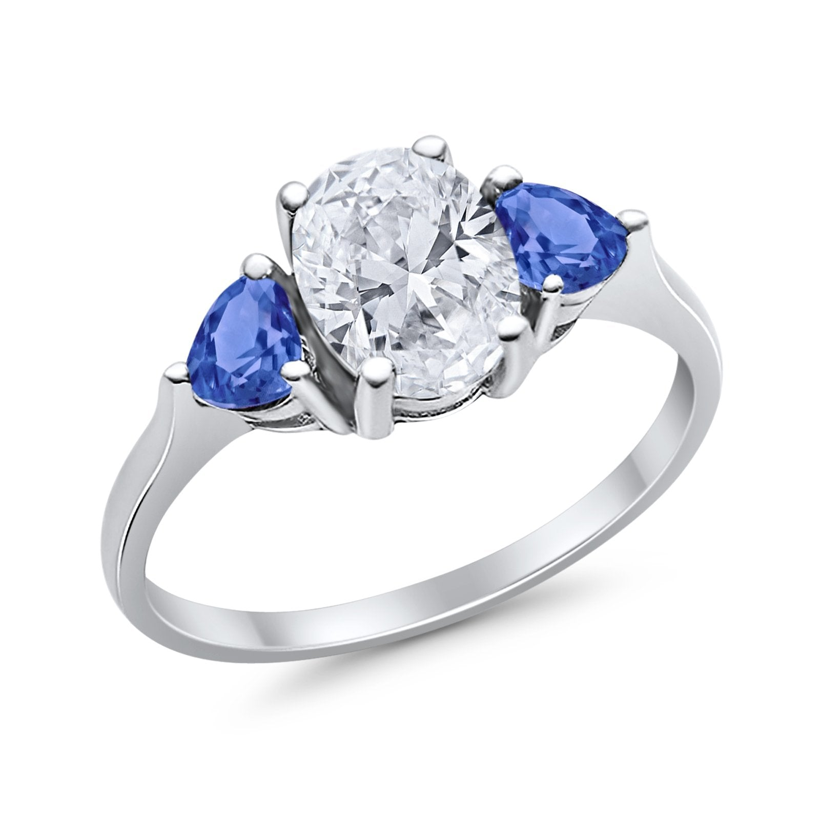 Fashion Promise Ring Oval Simulated Tanzanite CZ 925 Sterling Silver
