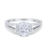 Solitaire Accent Split Shank Wedding Ring Oval Simulated CZ 925 Sterling Silver