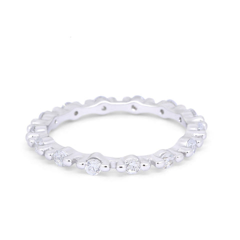Stackable  Engagement Band Round Pave Simulated CZ 925 Sterling Silver