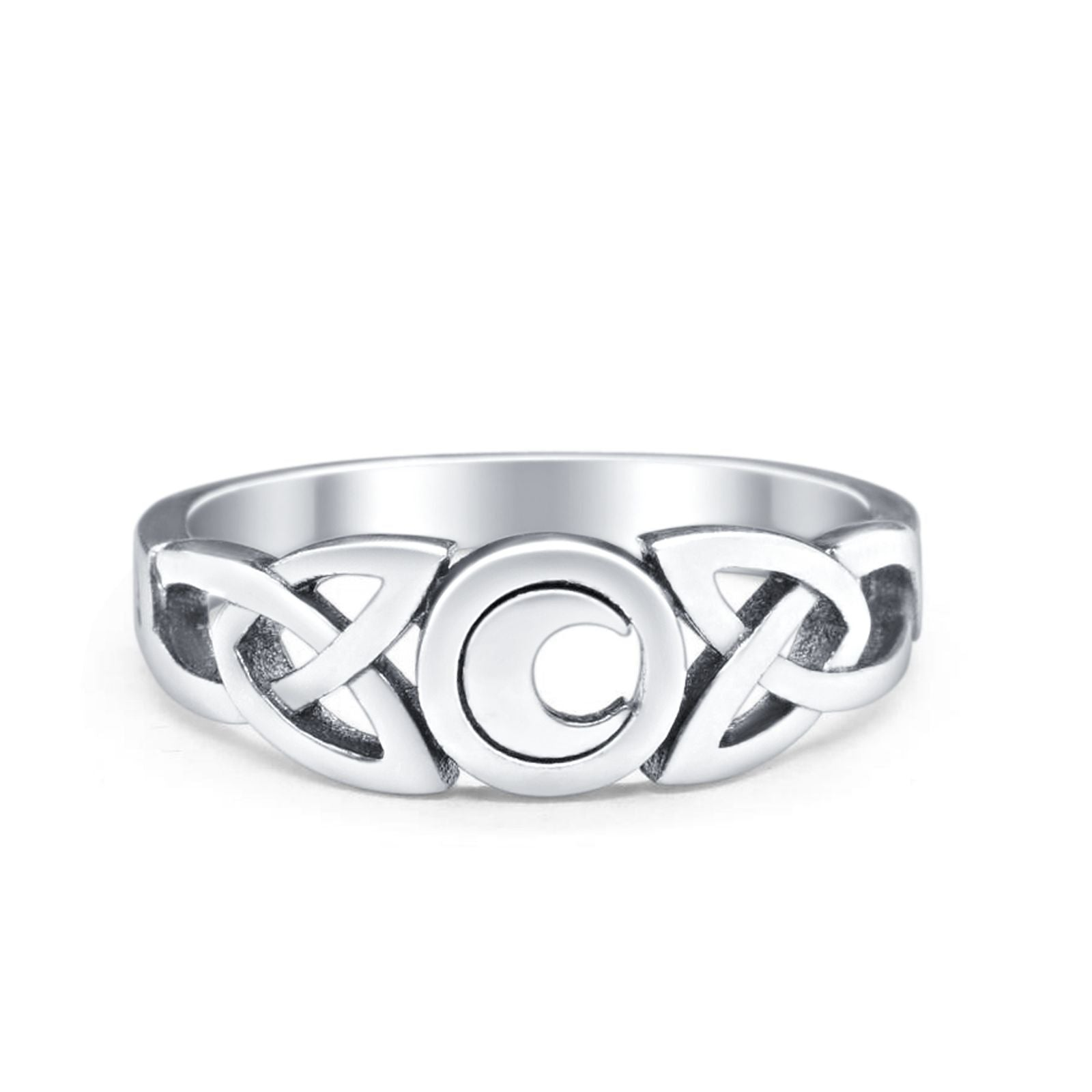 Celtic Moon Plain Ring Band Round 925 Sterling Silver