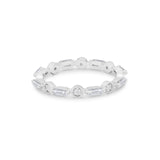 Wedding Band Baguette Round Simulated Cubic Zirconia 925 Sterling Silver