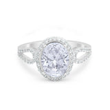 Halo Art Deco Engagement Bridal Ring Round Simulated CZ 925 Sterling Silver