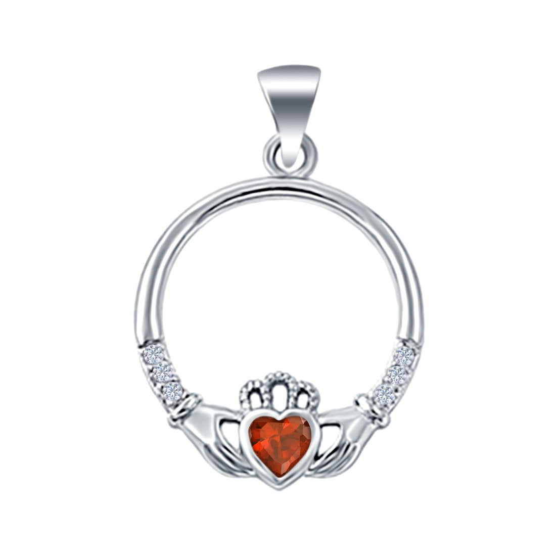Heart Claddagh Charm Pendant Simulated Garnet CZ 925 Sterling Silver (21mm)