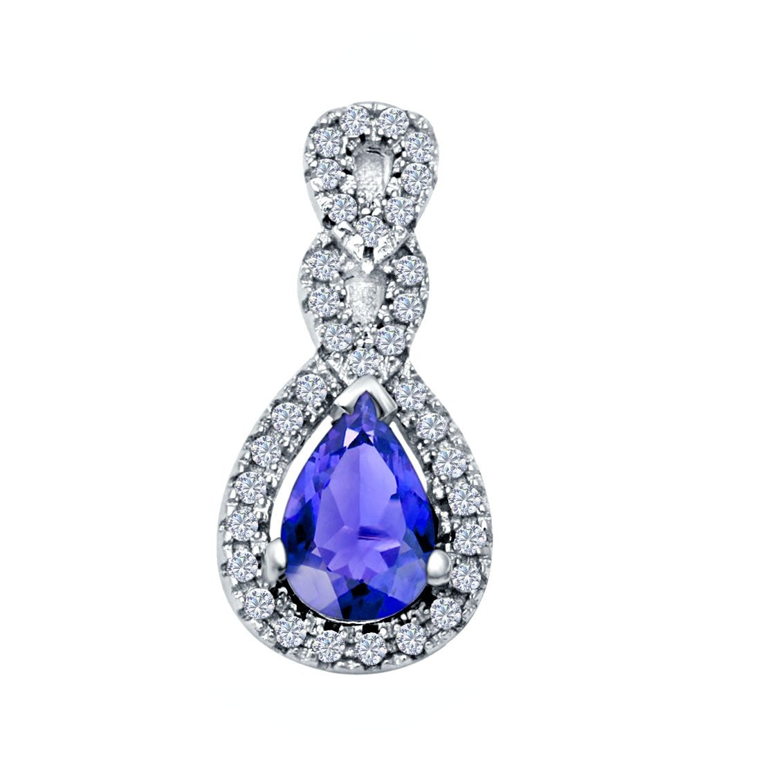 Fashion Jewelry Charm Pendant Pear Simulated Tanzanite CZ 925 Sterling Silver
