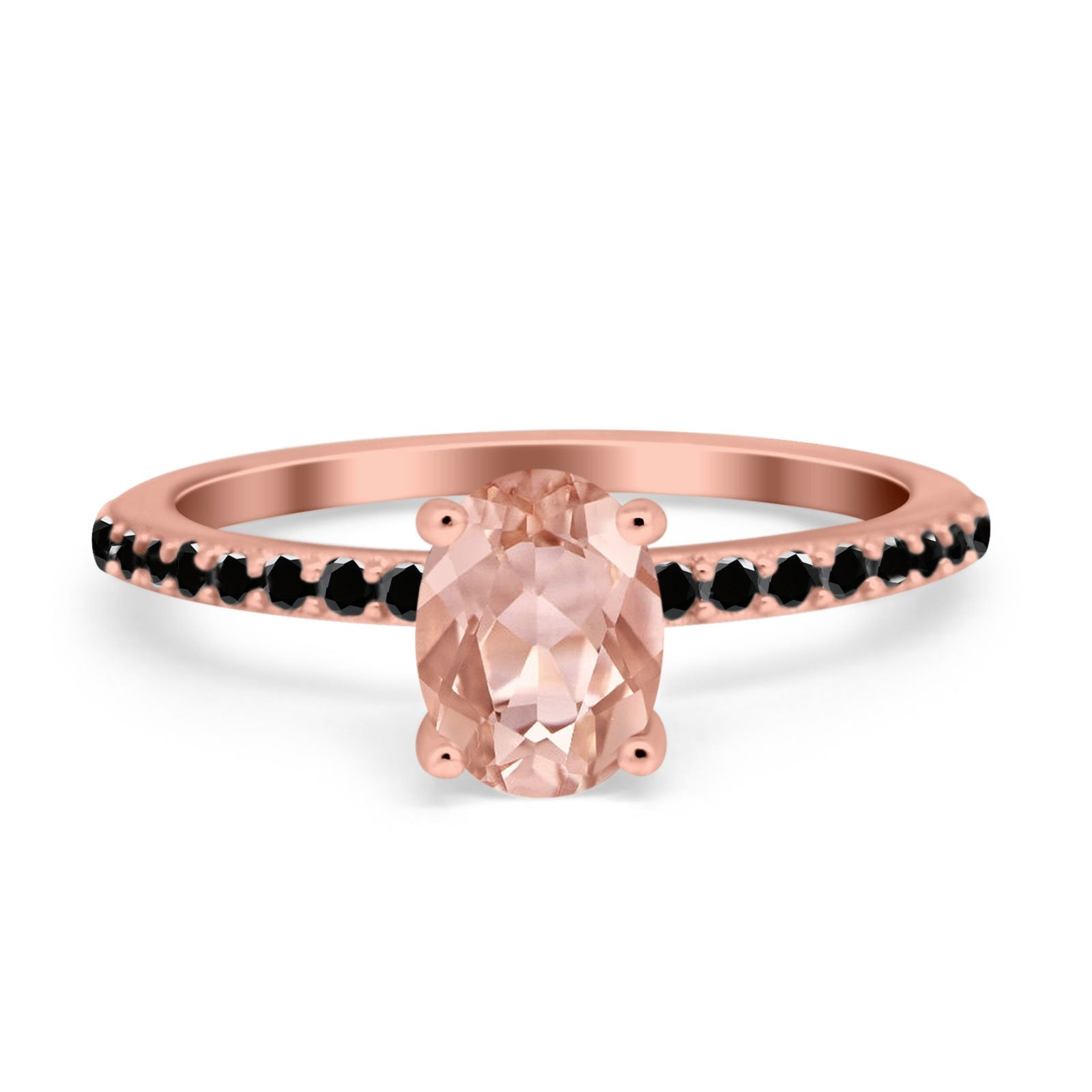 Accent Art Deco Wedding Ring Black Rose Tone, Simulated Morganite CZ 925 Sterling Silver