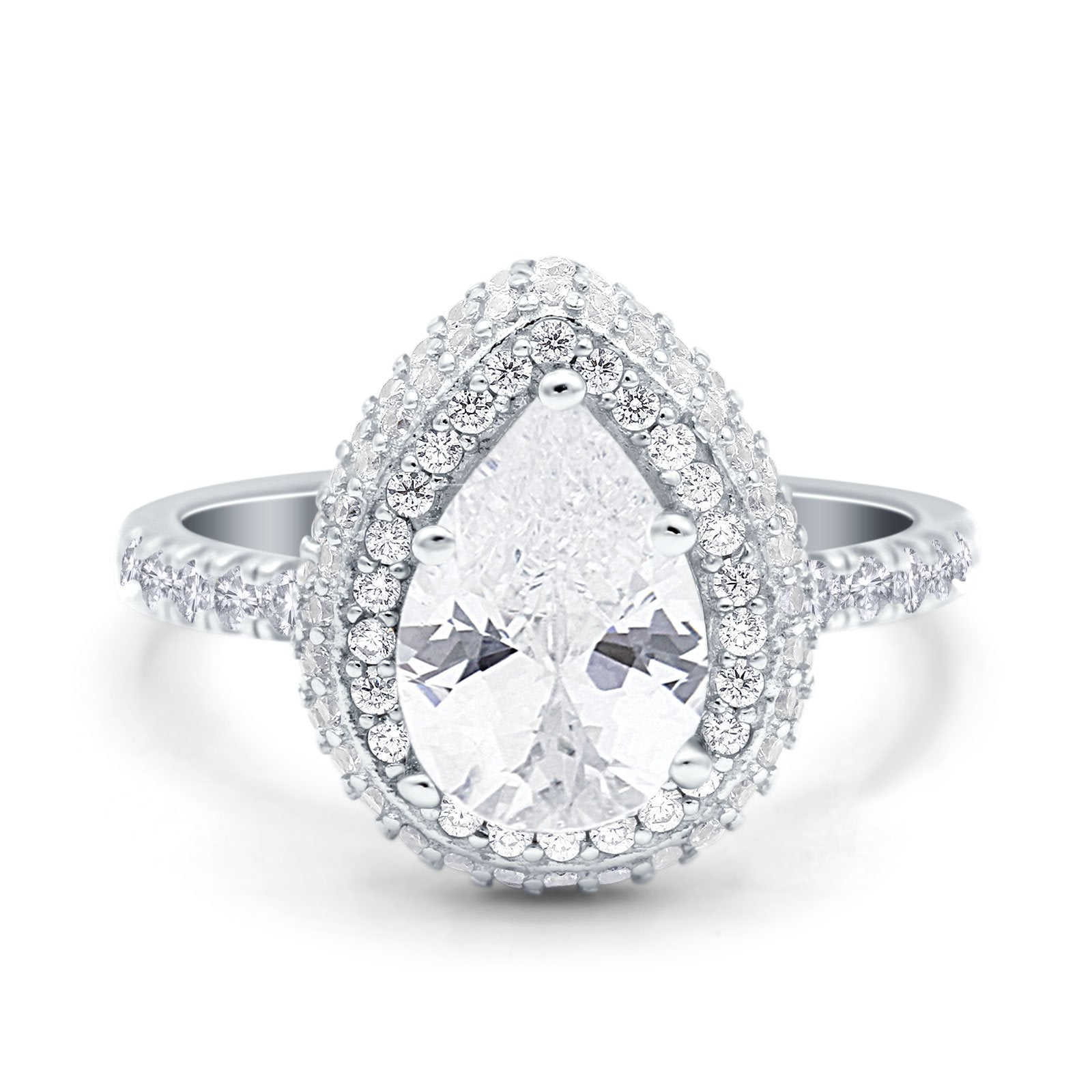 Teardrop Pear Art Deco Vintage Engagement Ring Simulated Cubic Zirconia 925 Sterling Silver