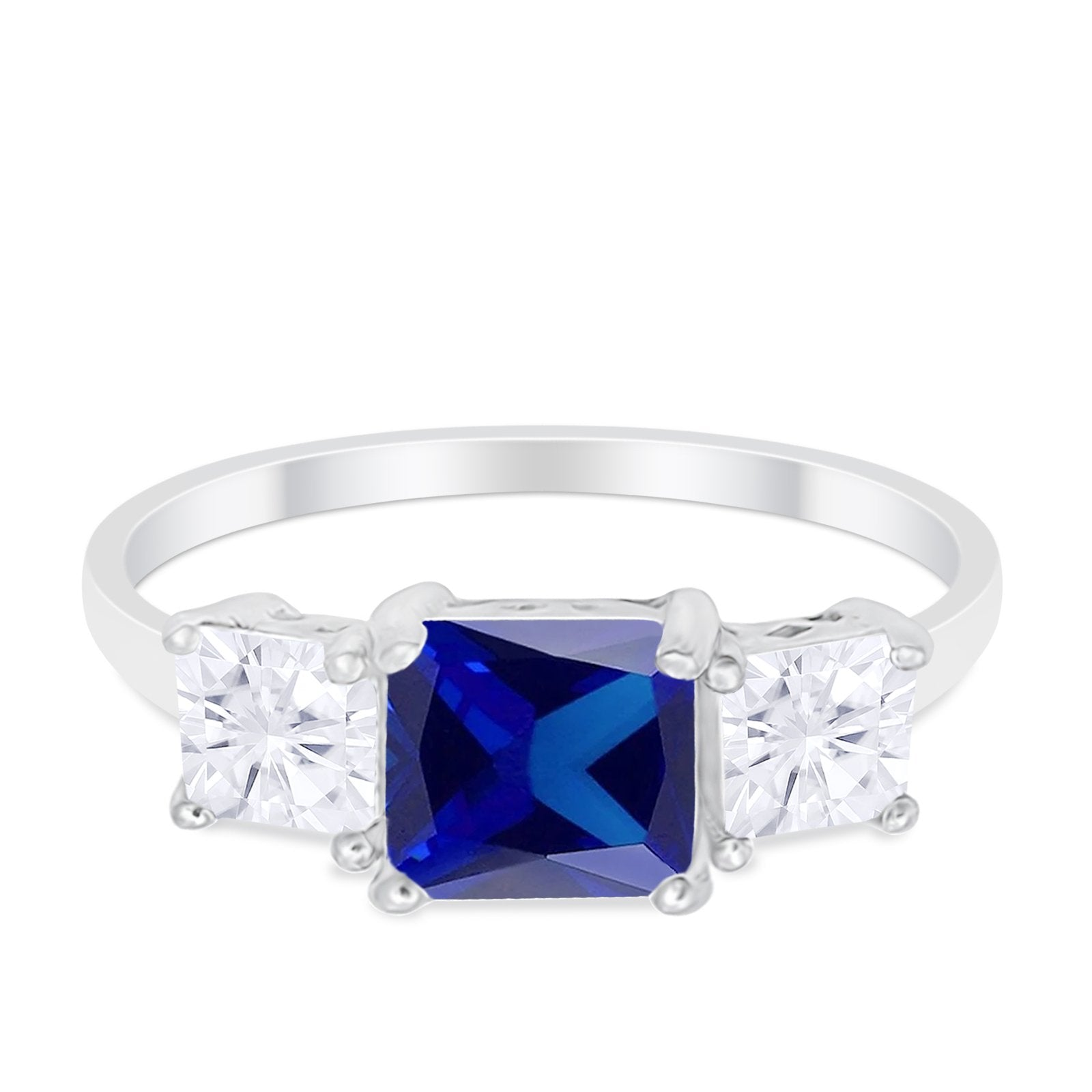 3 Stone Engagement Ring Princess Cut Simulated Sapphire CZ 925 Sterling Silver