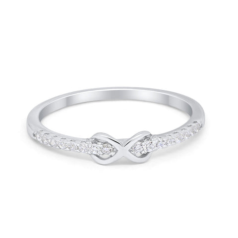 Petite Dainty Infinity Ring Round Simulated Cubic Zirconia 925 Sterling Silver