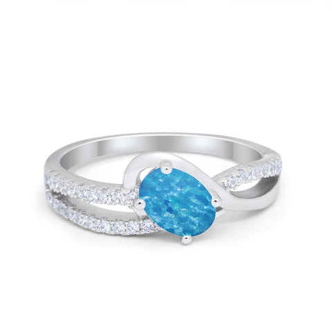 Accent Fashion Wedding Ring Oval Lab Created Blue Opal 925 Sterling Silver