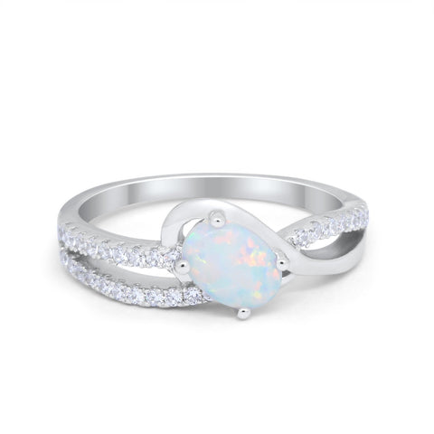 Accent Fashion Wedding Ring Oval Lab Created White Opal 925 Sterling Silver