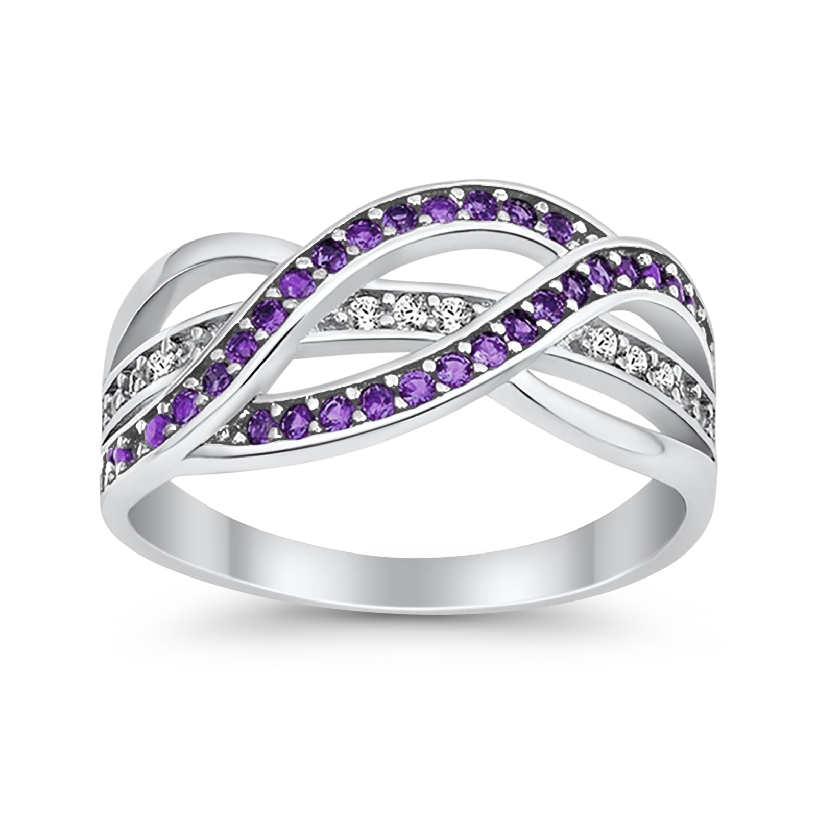 Weave Knot Ring Crisscross Crossover Simulated Amethyst Round CZ 925 Sterling Silver