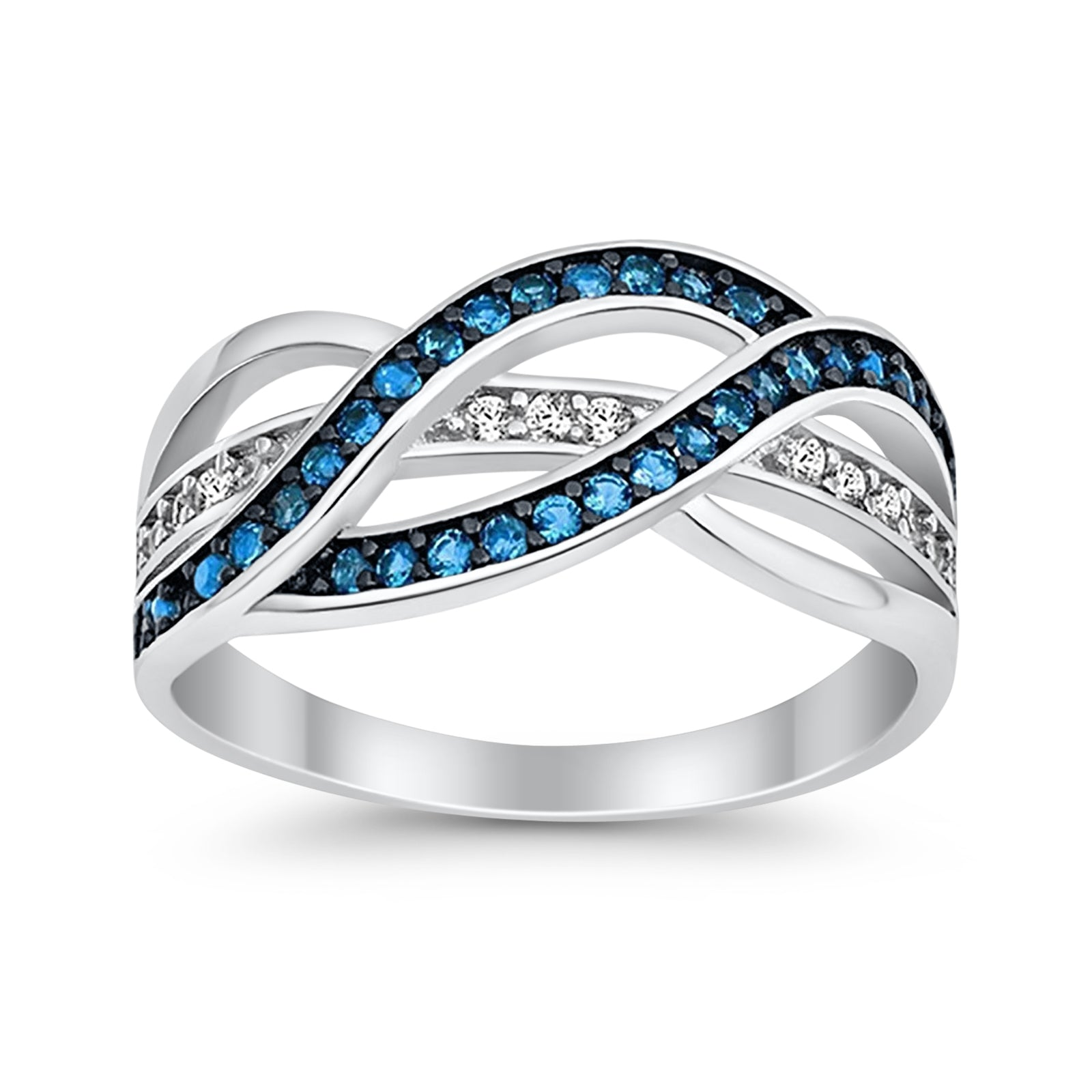 Weave Knot Ring Crisscross Crossover Simulated Blue Topaz Round CZ 925 Sterling Silver
