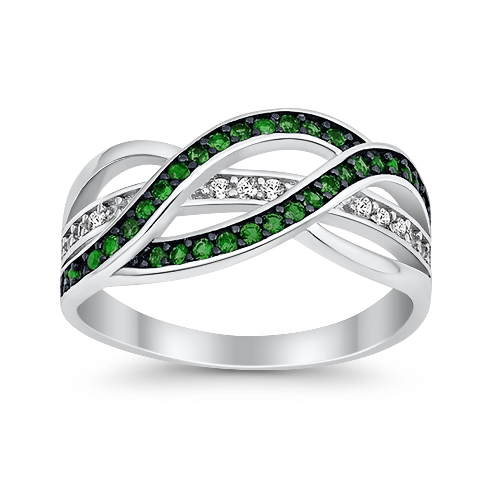 Weave Knot Ring Crisscross Crossover Simulated Green Emerald Round CZ 925 Sterling Silver