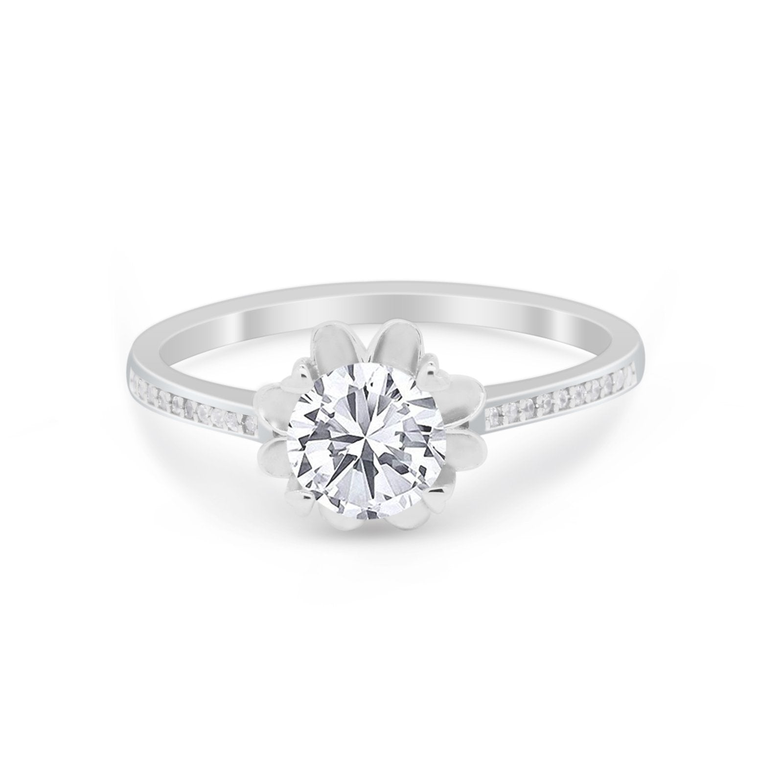 Vintage Style Engagement Ring Simulated CZ 925 Sterling Silver