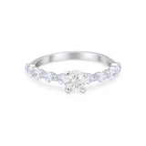 Vintage Style Wedding Ring Round Simulated Cubic Zirconia 925 Sterling Silver