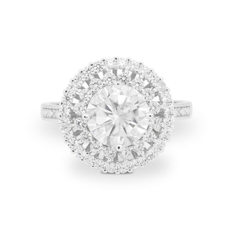 Halo Cocktail Wedding Engagement Ring Round Cubic Zirconia 925 Sterling Silver