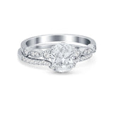 Two Piece Wedding Ring Band Round Simulated Cubic Zirconia 925 Sterling Silver