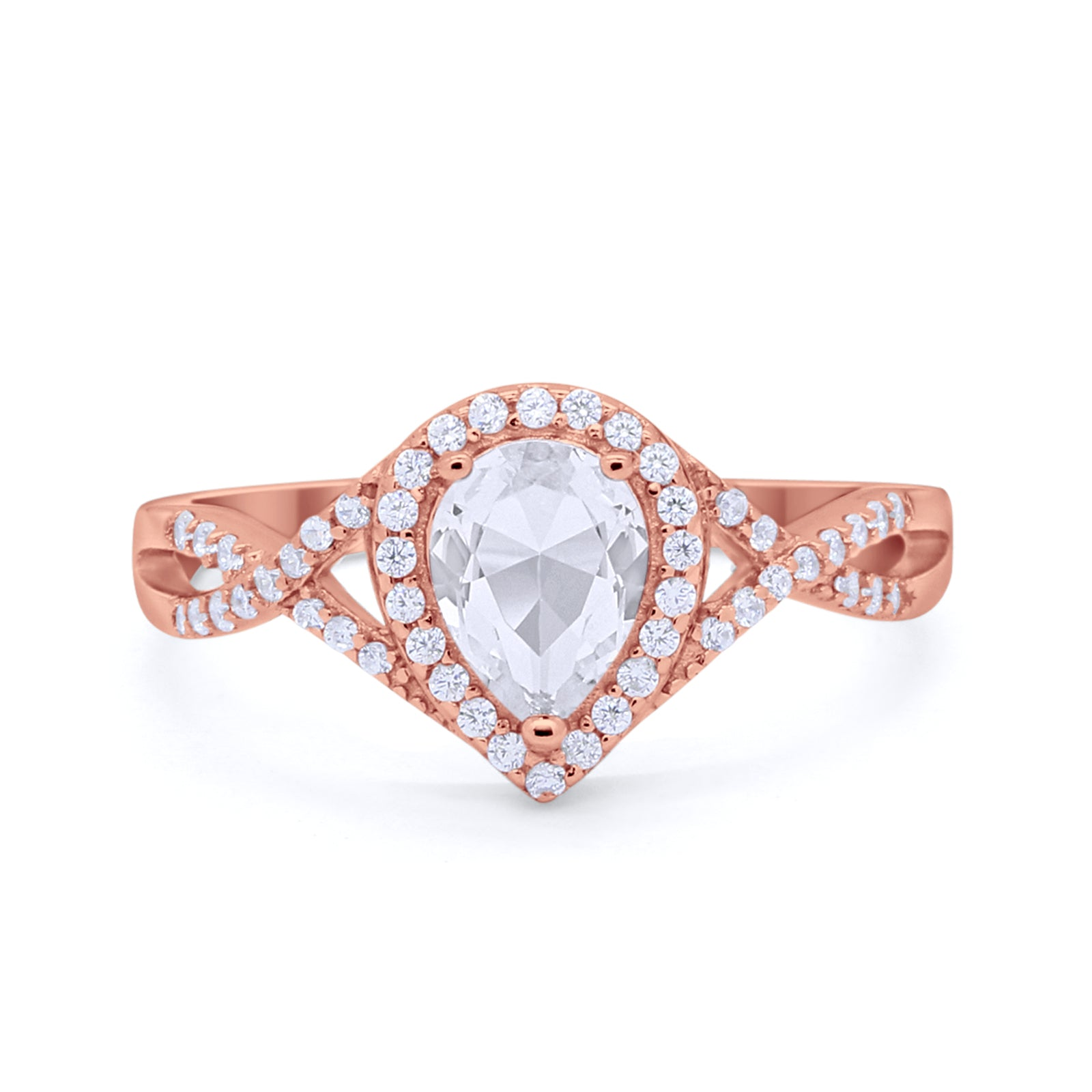 Teardrop Wedding Promise Ring Infinity Round Rose Tone, Simulated CZ 925 Sterling Silver