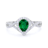 Teardrop Wedding Promise Ring Infinity Round Simulated Green Emerald CZ 925 Sterling Silver