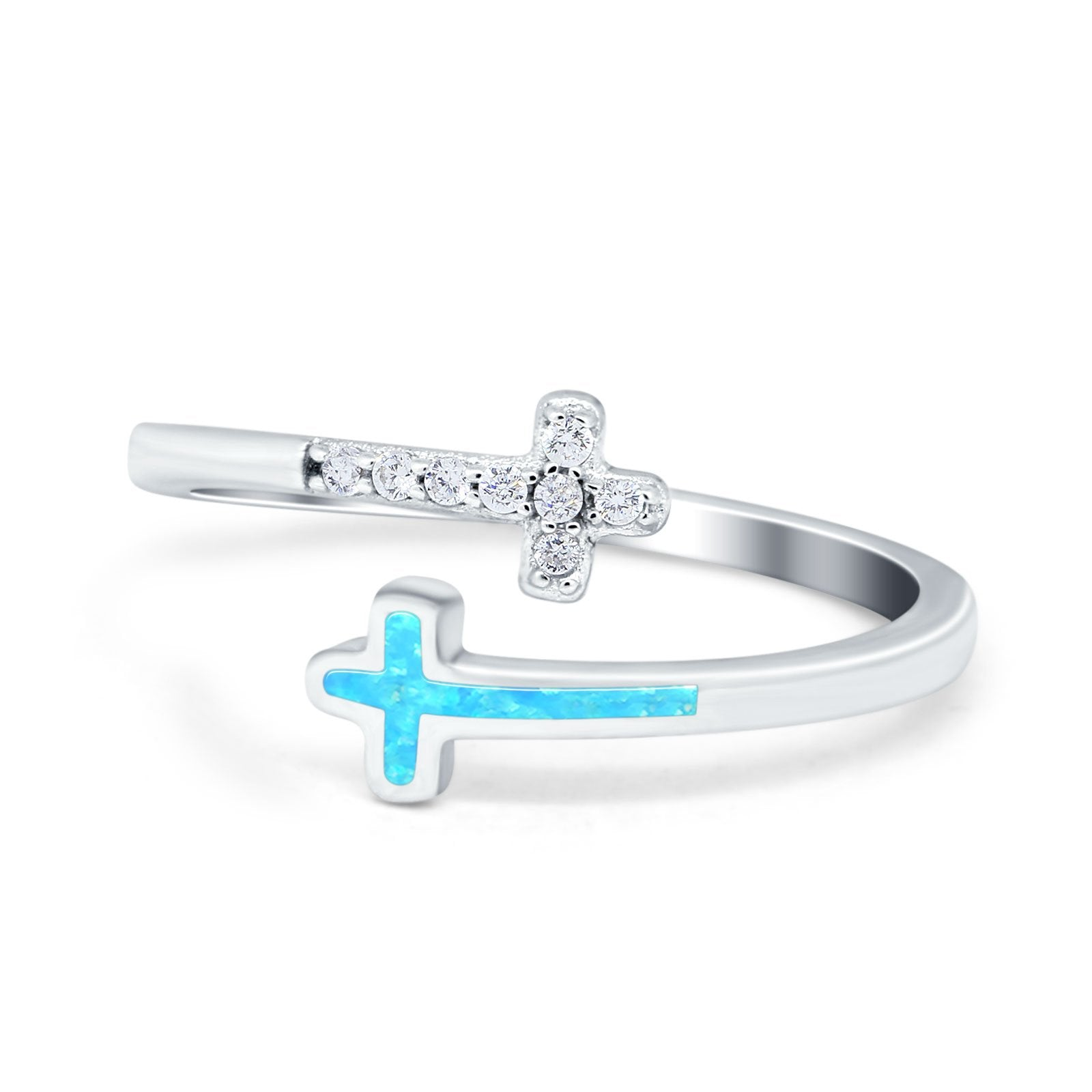 Cross Ring Sideways Round Eternity Lab Created Light Blue Opal 925 Sterling Silver