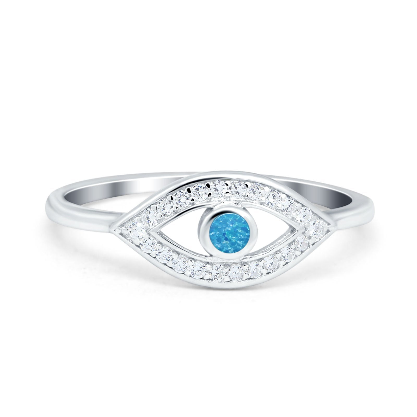 Evil Eye Ring Round Lab Opal Lab Created Blue Opal 925 Sterling Silver