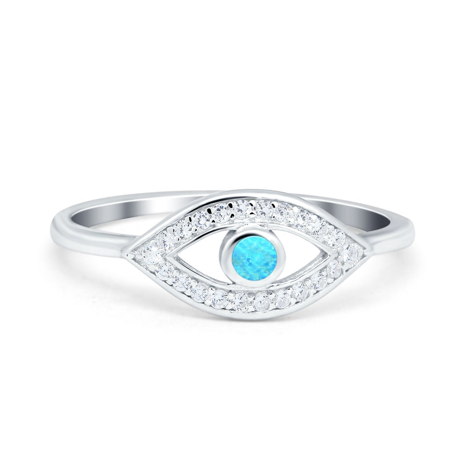 Evil Eye Ring Round Lab Opal Lab Created Light Blue Opal 925 Sterling Silver