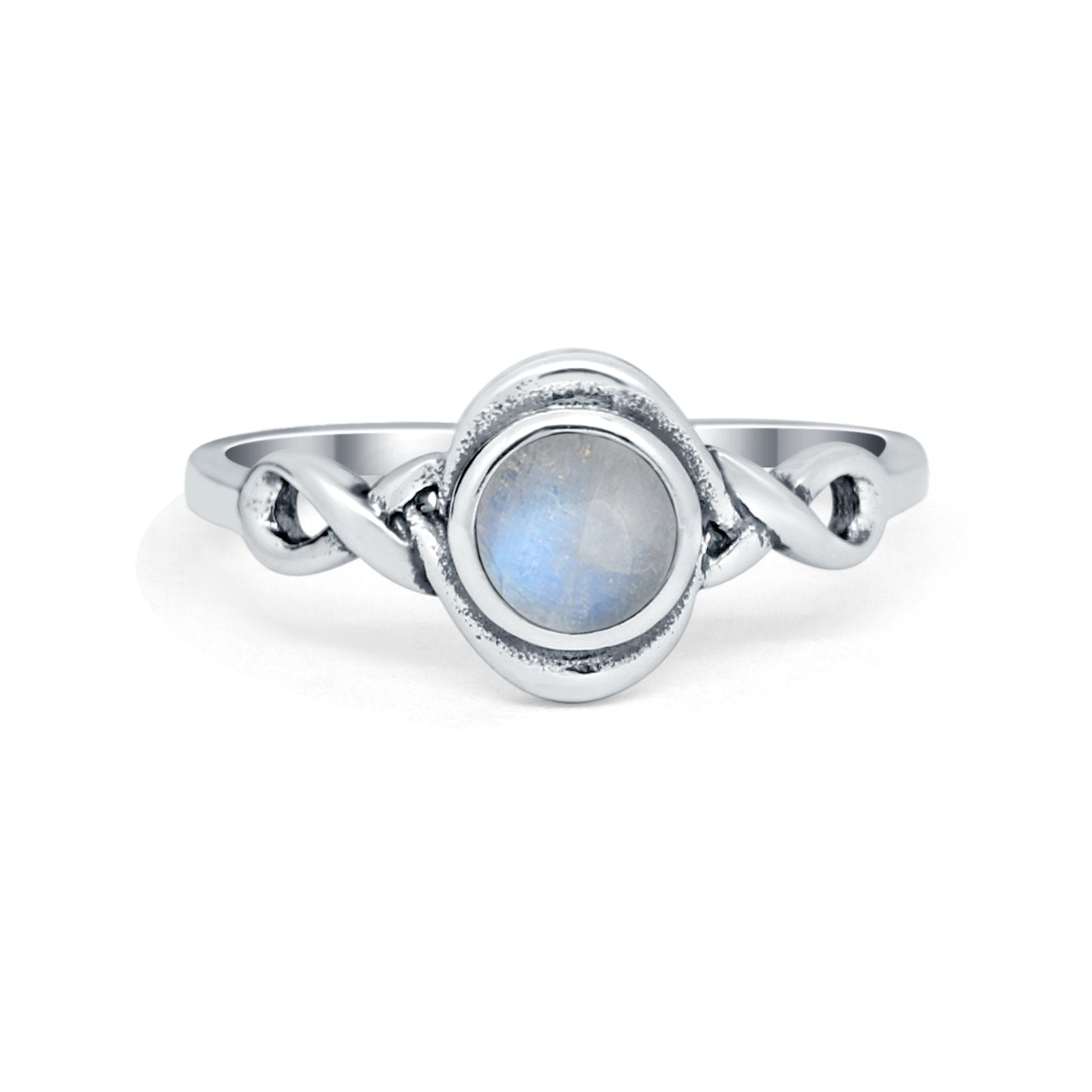 Celtic Trinity Ring Simulated Moonstone CZ Infinity Shank 925 Sterling Silver
