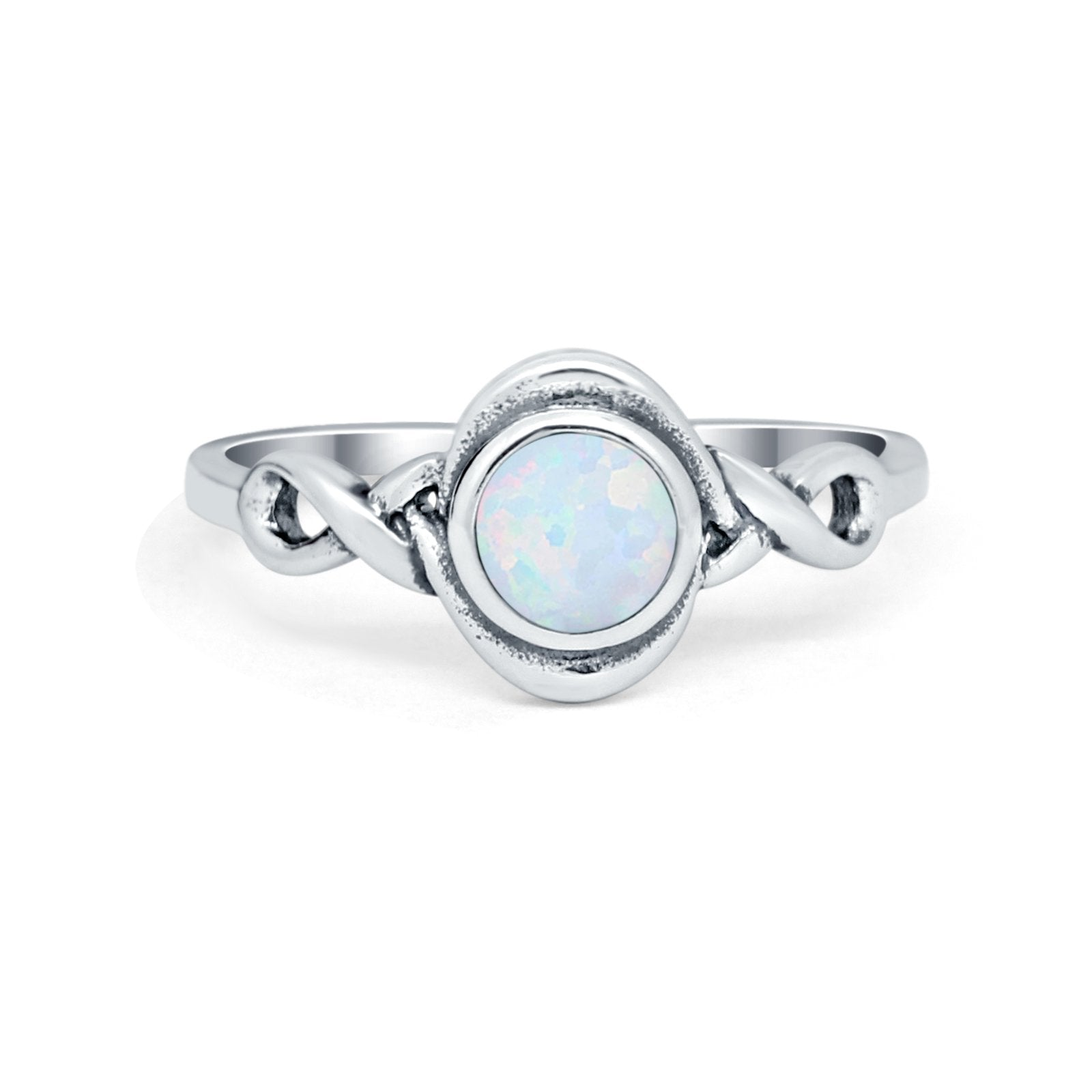 Celtic Trinity Ring Lab Created White Opal  Infinity Shank 925 Sterling Silver
