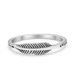 Petite Dainty Feather Band Plain Ring 925 Sterling Silver