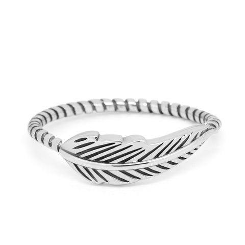 Petite Dainty Feather Ring Twisted Braided Rope Band 925 Sterling Silver