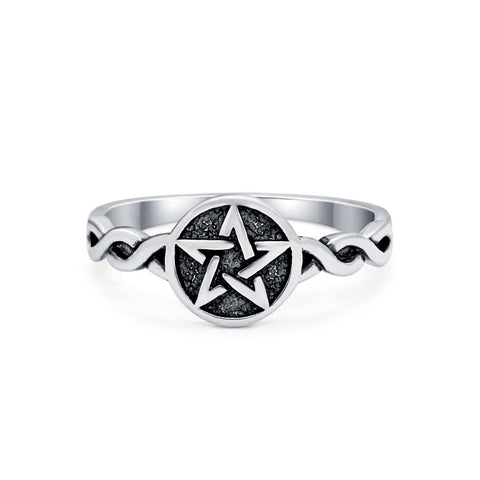 Twisted Braided Shank Oxidized Pentagram Star Ring Band 925 Sterling Silver