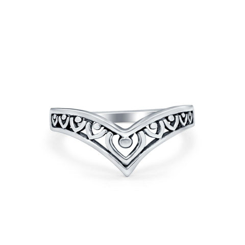 Heart Petite Thumb Ring Band Chevron Midi V Filigree Solid 925 Sterling Silver